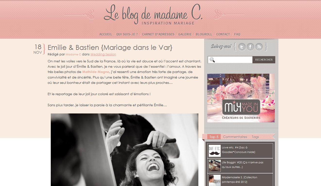 parution sur le blog de madame c wedding planner provence. Black Bedroom Furniture Sets. Home Design Ideas